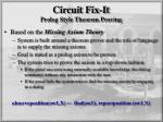 circuit fix it prolog style theorem proving