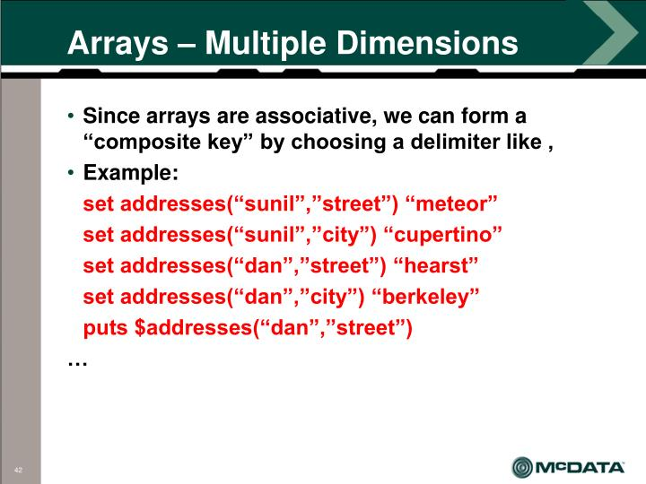 Arrays – Multiple Dimensions
