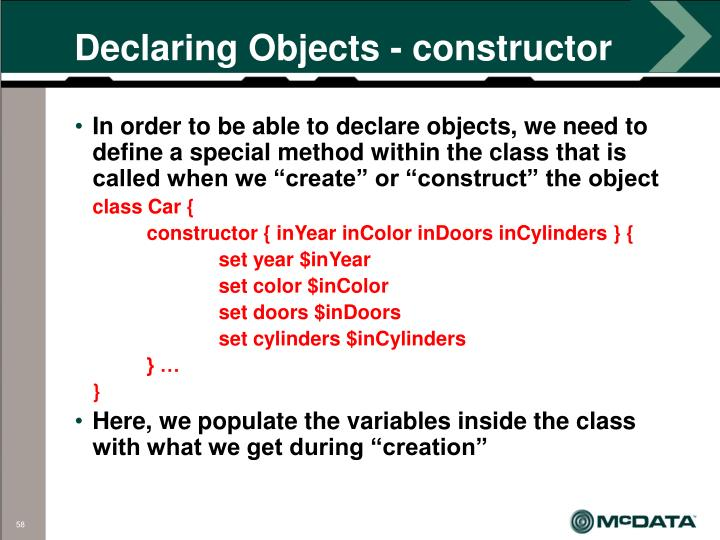 Declaring Objects - constructor
