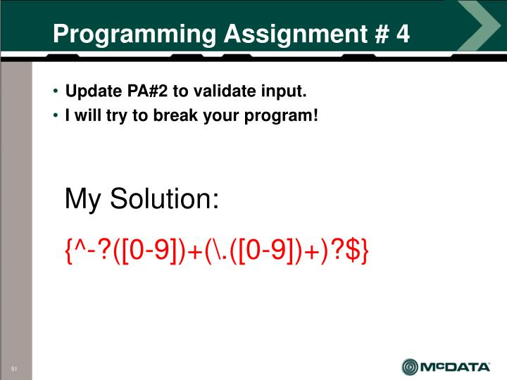 Programming Assignment # 4