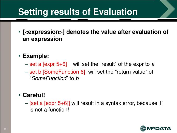 Setting results of Evaluation