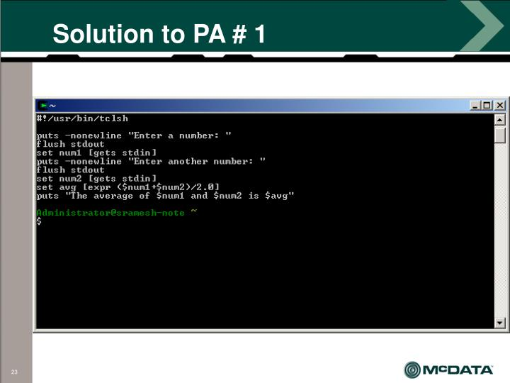 Solution to PA # 1