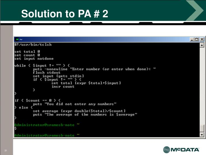 Solution to PA # 2