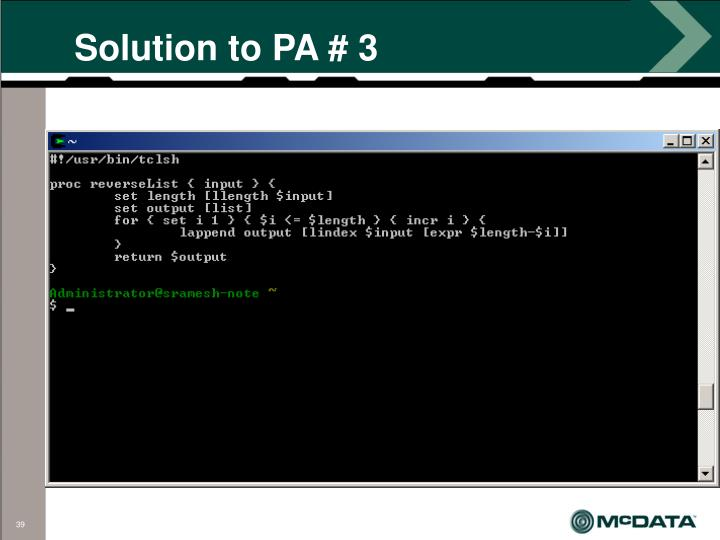 Solution to PA # 3