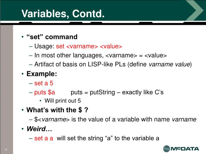 Variables, Contd.