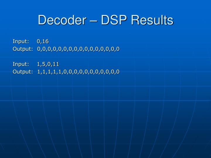 Decoder – DSP Results