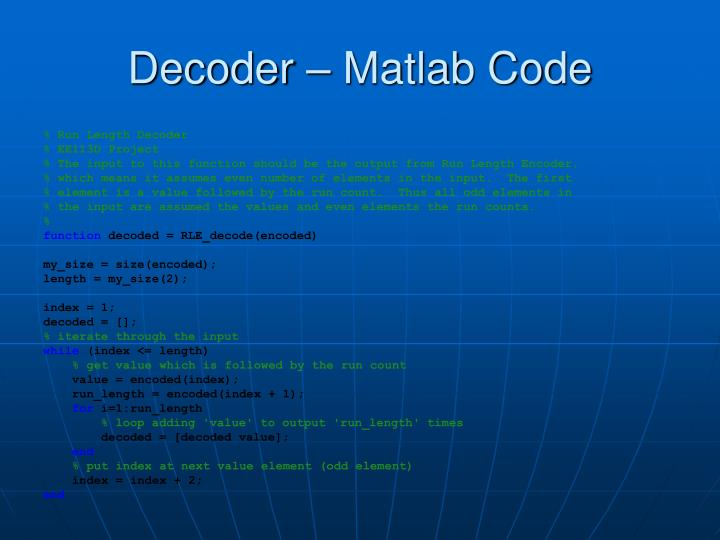 Decoder – Matlab Code