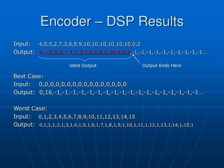 Encoder – DSP Results