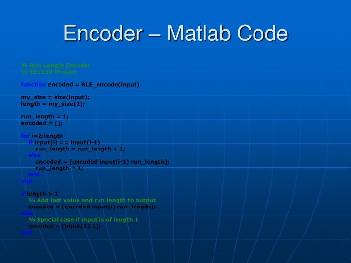 Encoder – Matlab Code