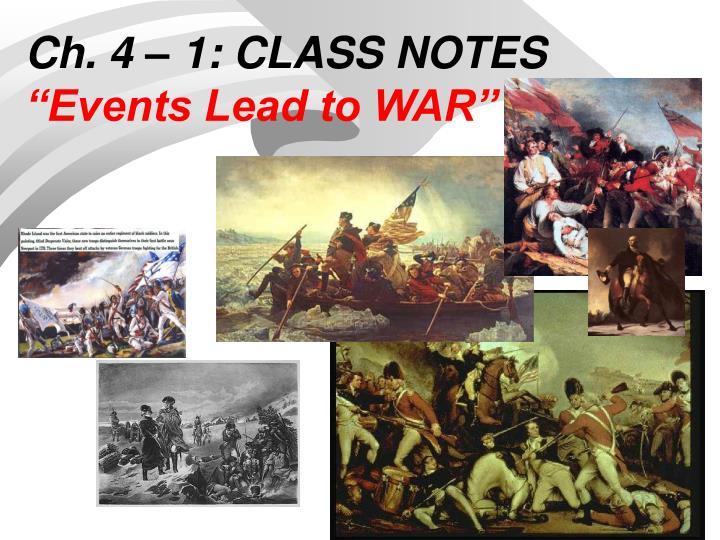 Ch. 4 – 1: CLASS NOTES