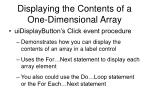 displaying the contents of a one dimensional array