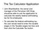 the tax calculator application