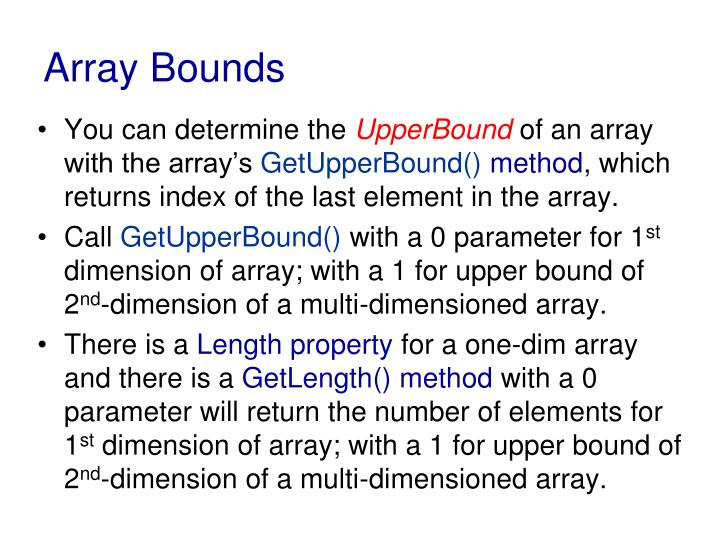 Array Bounds