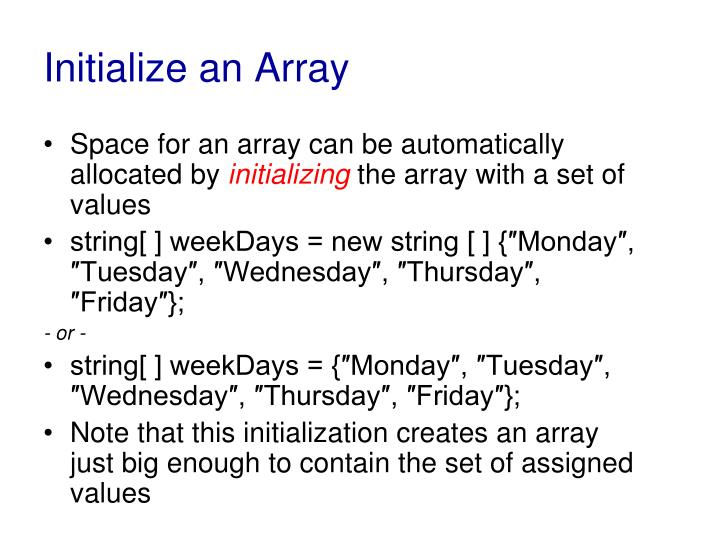 Initialize an Array