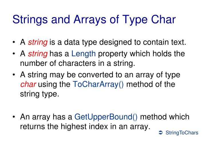 Strings and Arrays of Type Char