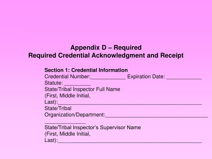 Appendix D – Required