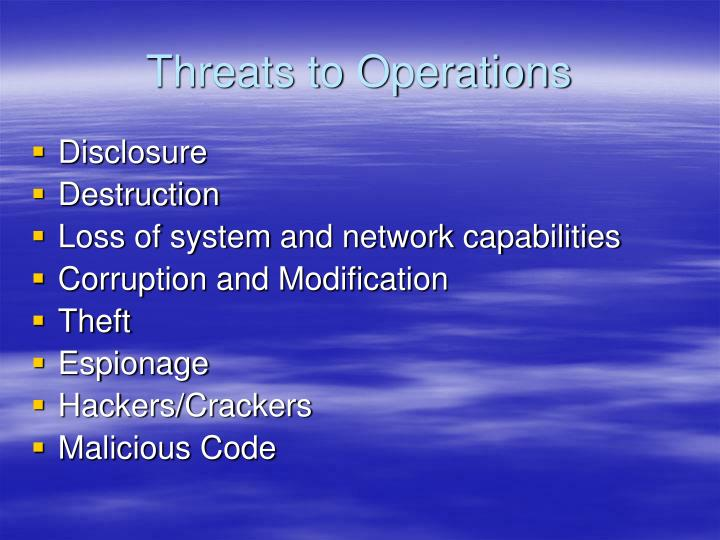 Threats to Operations