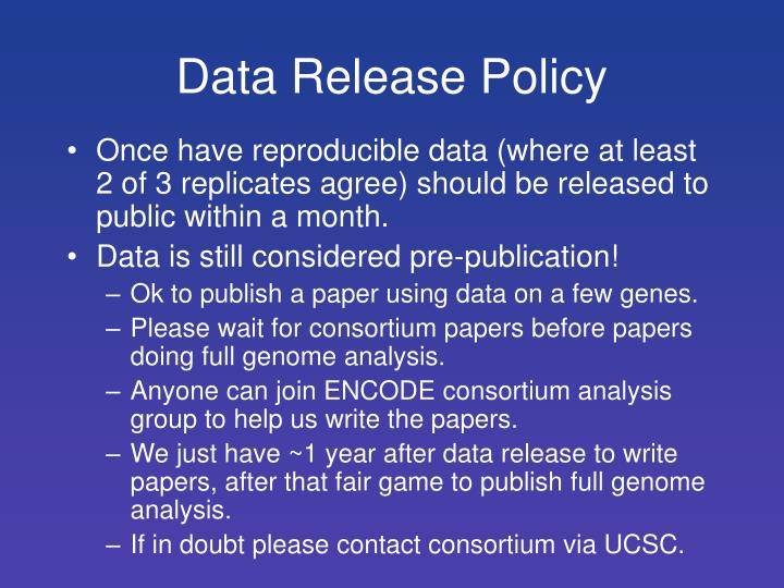 Data Release Policy