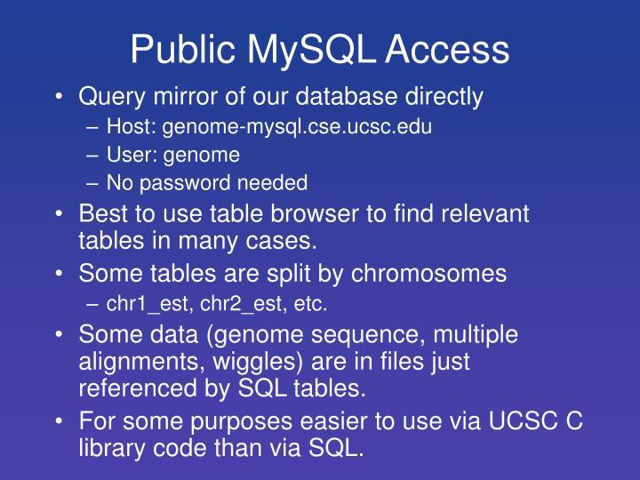 Public MySQL Access