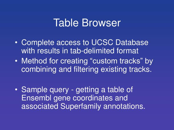 Table Browser