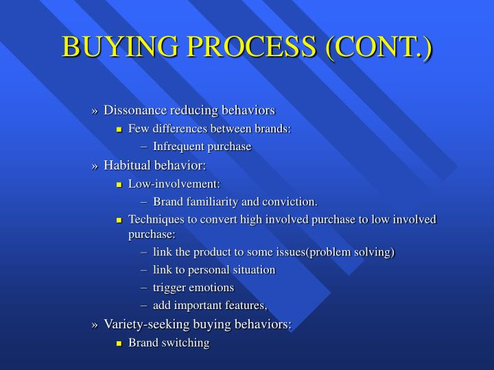 BUYING PROCESS (CONT.)