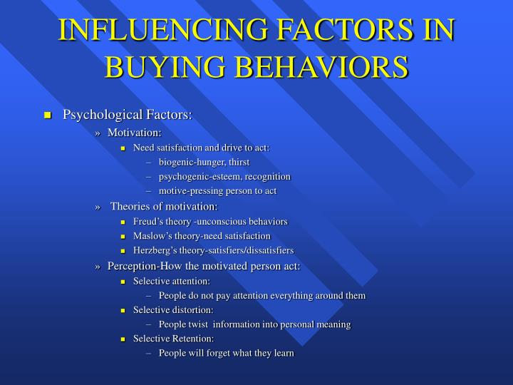 INFLUENCING FACTORS IN BUYING BEHAVIORS