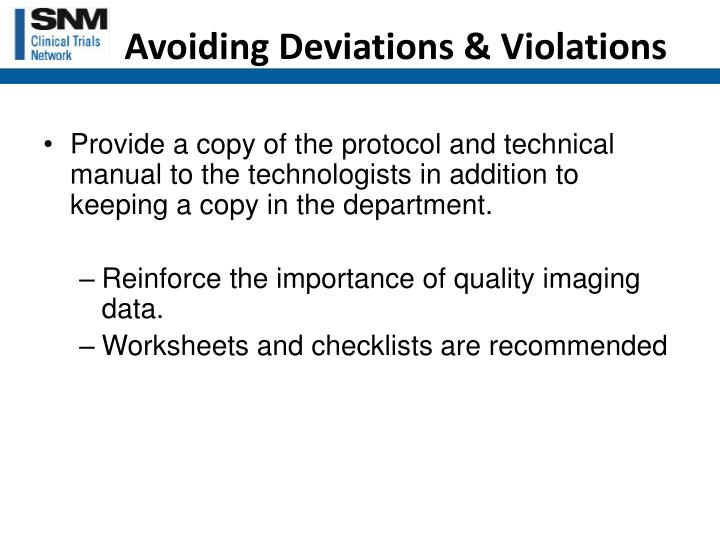 Avoiding Deviations & Violations