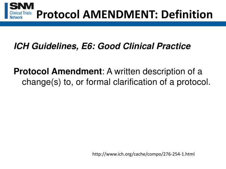 Protocol AMENDMENT: Definition