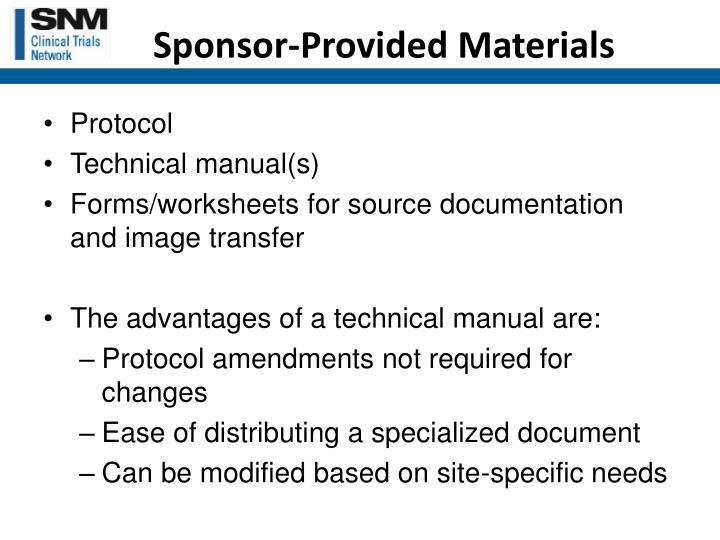 Sponsor-Provided Materials