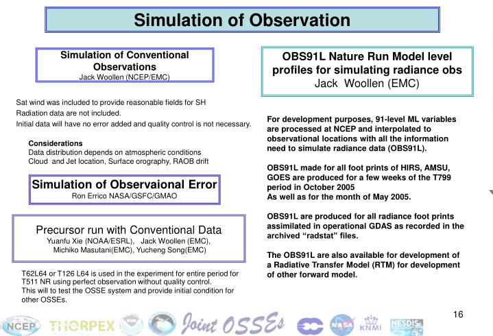 Simulation of Observation