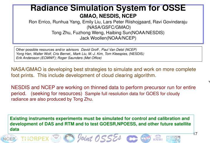 Radiance Simulation System for OSSE