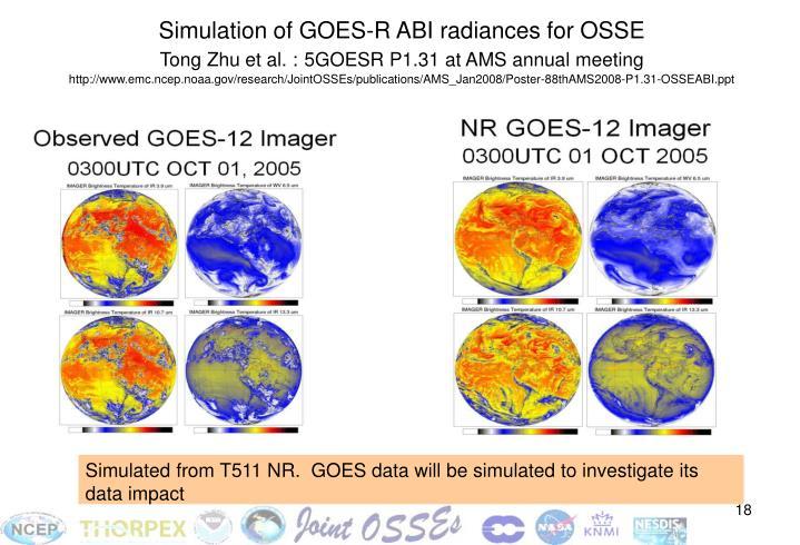 Simulation of GOES-R ABI radiances for OSSE
