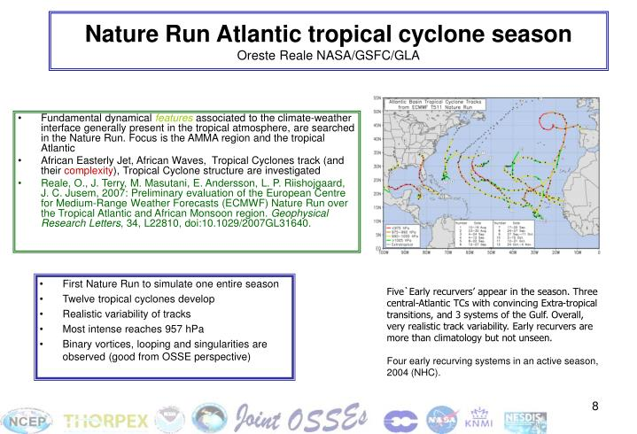 Nature Run Atlantic tropical cyclone season