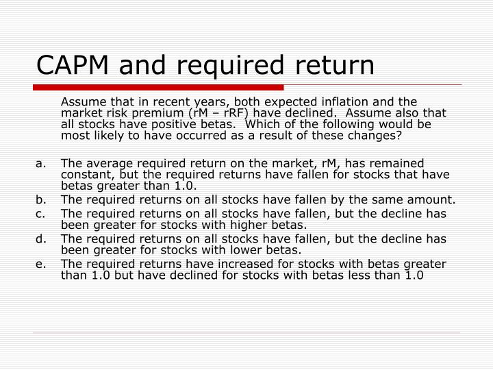 CAPM and required return