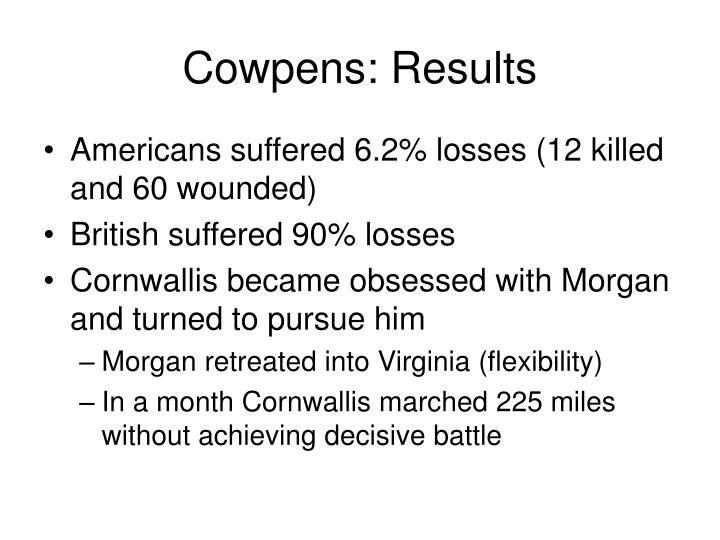 Cowpens: Results