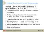 impact on the finance community