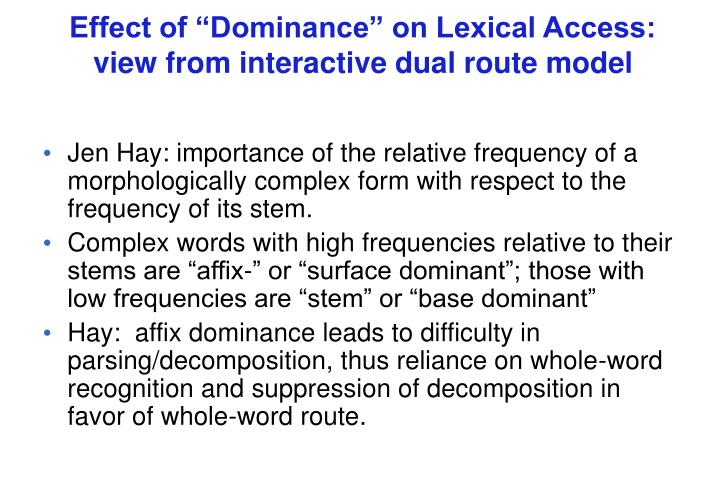 "Effect of ""Dominance"" on Lexical Access:"