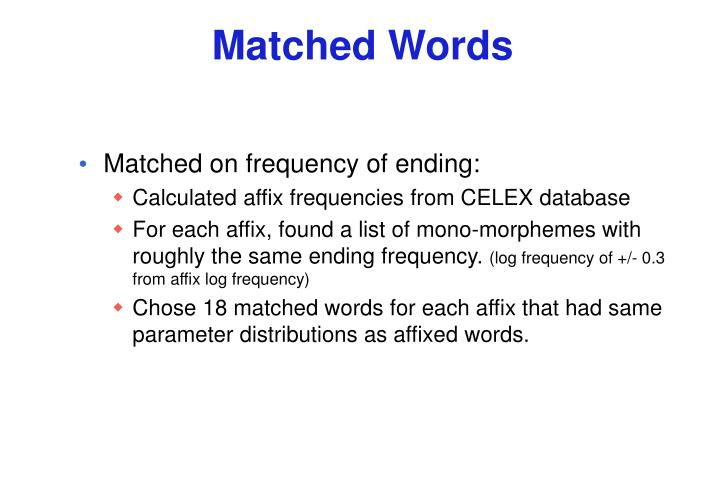 Matched Words