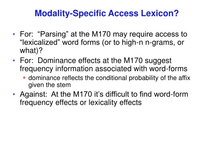 Modality-Specific Access Lexicon?