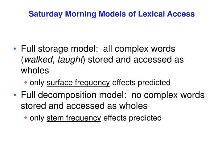 Saturday Morning Models of Lexical Access