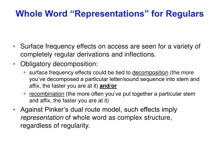 "Whole Word ""Representations"" for Regulars"