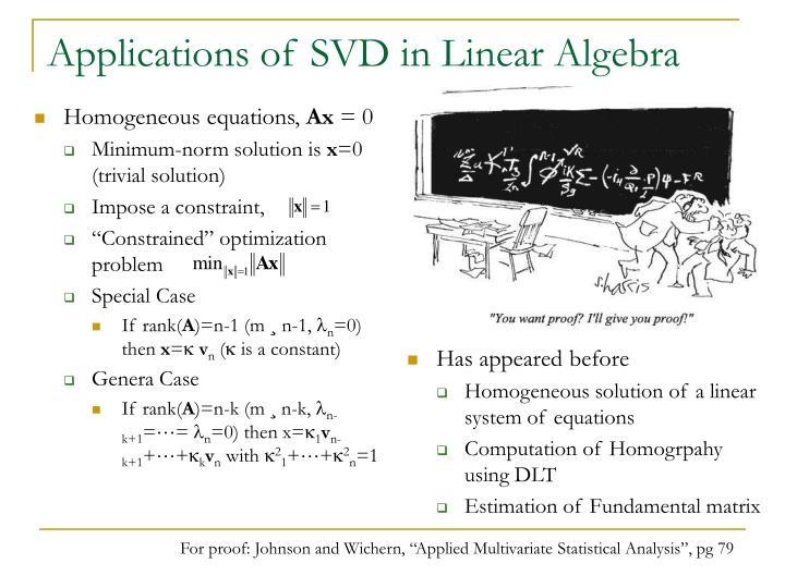 Applications of SVD in Linear Algebra