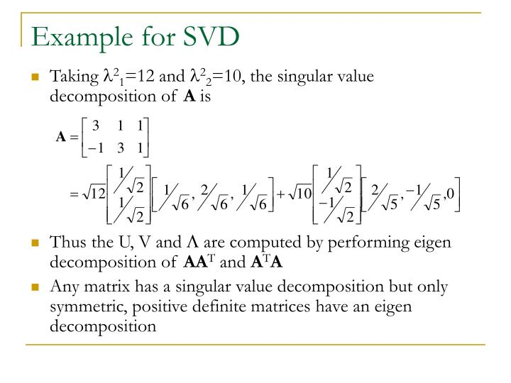 Example for SVD
