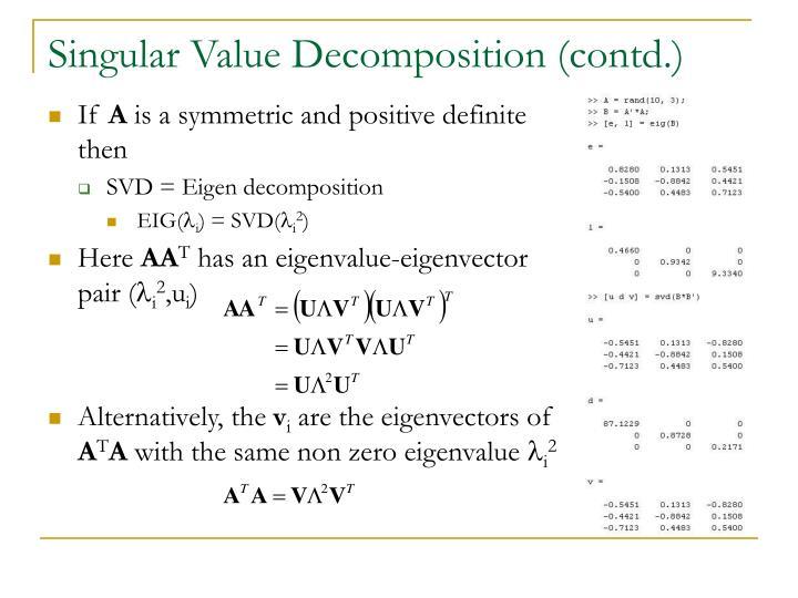 Singular Value Decomposition (contd.)