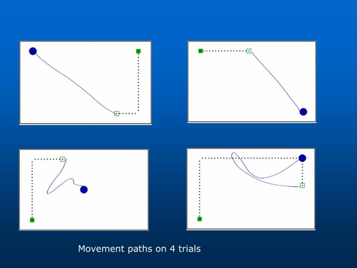 Examples of movement paths on individual trials