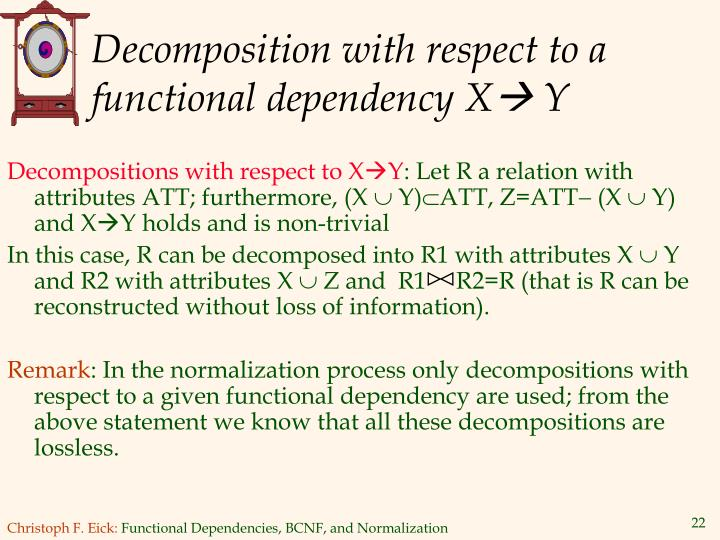 Decomposition with respect to a functional dependency X