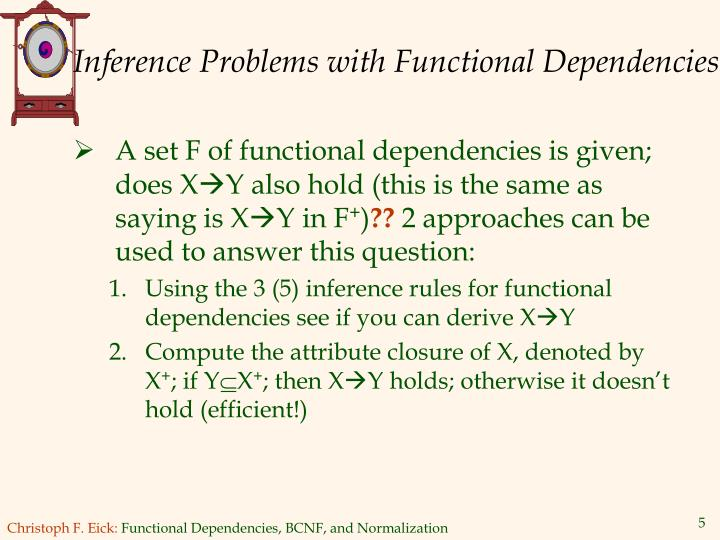 Inference Problems with Functional Dependencies