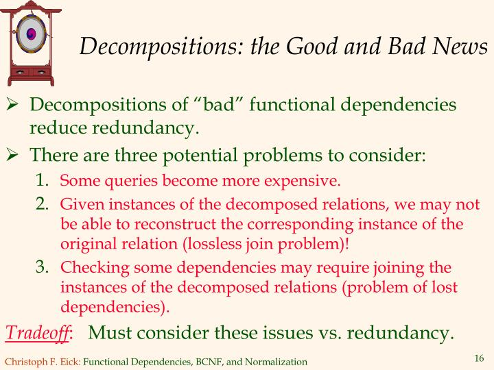 Decompositions: the Good and Bad News