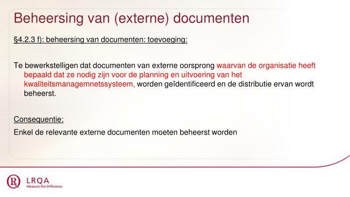 Beheersing van (externe) documenten