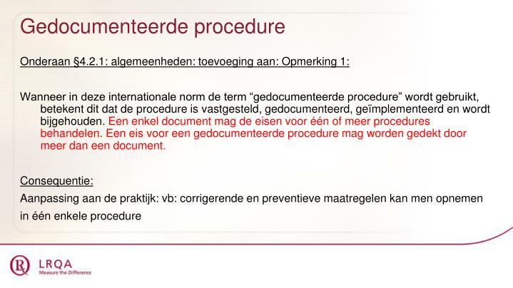 Gedocumenteerde procedure